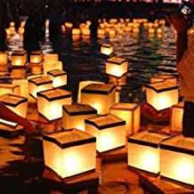 Outdoor Square Water Floating Candle Lanterns Biodegradable White Chinese Paper Lanterns for Christmas Holloween Wedding Party Decor Wishing, Praying, Floating (10cm,20PCS)
