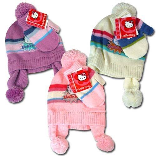 Hello Kitty Knit Hat & Mitten Set For Girls (White) ()