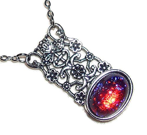- DRAGONS BREATH CZECH GLASS NECKLACE MEXICAN FIRE OPAL GLASS Silver Pltd Pendant