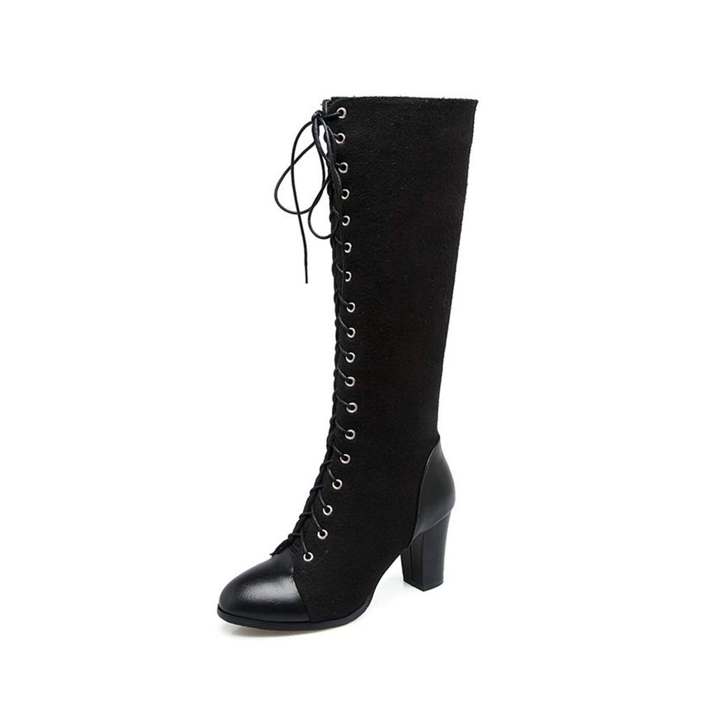 Black T-JULY Women Square High Heel Western Boots Ladies Mixed color Knee-high Boots Female Lace Up Brown Motorcycle Boots