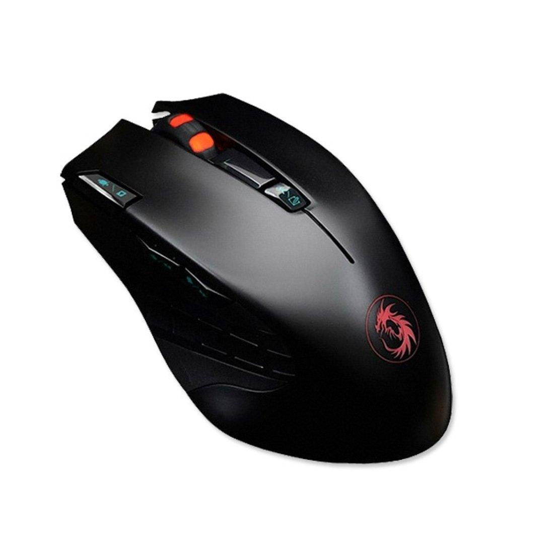 ワイヤレスゲームマウスDrakan gm20人間工学光学式マウス2400dpiデュアルモード B077D5QK71
