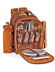 Flexzion Picnic Backpack Kit - With Cooler Compartment, Detachable Bottle/Wine Holder, Plates and Flatware Cutlery...