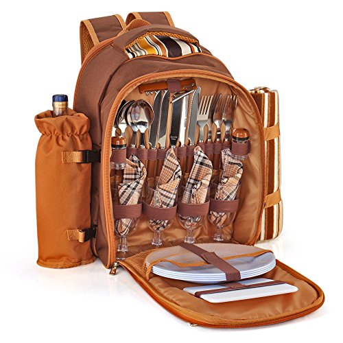 Flexzion Picnic Backpack Kit - Set for 4 Person With Cooler Compartment, Detachable Bottle/Wine Holder, Fleece Blanket, Plates and Flatware Cutlery Set (Plaid Tartan - Brown) (Champagne Bottle Knife)
