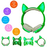 Botrong LED Music Lights Earphone Foldable Cat Ear Rechargeable Headset for iPhone MP4 (Green)