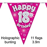Happy 18th Birthday Pink Holographic Foil Party Bunting 3.9m Long 11 Flags by Oak Tree