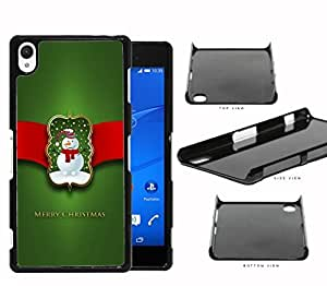 Merry Christmas Sign with Cute Snowman with Red Ribbon and Green Background Sony Xperia Z2 Hard Snap on Plastic Cell Phone Case Cover
