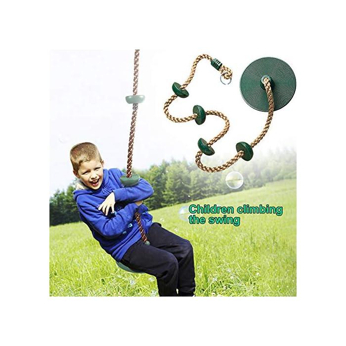 51xBKHLA 5L Material: hecho de polietileno (cuerda), plástico, materiales de metal para garantizar horas de diversión y años de juego y diversión en tu propio patio trasero. Columpio de escalada: crea la sensación real de un patio de juegos de aventura añadiendo la cuerda de escalada con balancín de disco a tu juego de columpios, o utilícela como una cuerda de escalada de árboles, escalada o un columpio de cuerda. Características: esta cuerda de escalada no solo proporcionará diversión emocionante, sino que ayudará a fomentar la confianza, mejorar el equilibrio, desarrollar la coordinación y fomentar el ejercicio.