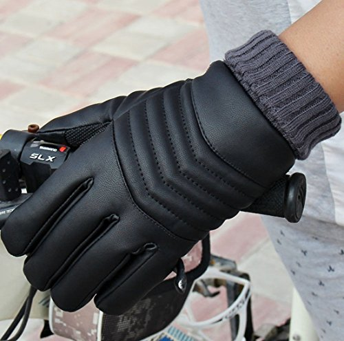 1 Pc (1-Pair) Superior Popular Hot Men Thermal Warm Leather Glove Soft Feeling Ski Windproof Motorcycle Hand Cover Color Black Model-05