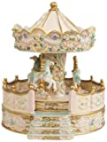 MusicBox Kingdom 14148 Beige Carousel with Porch Music Box Playing