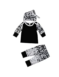 LUNIWEI Boys 3PCS/Set Outfits Printing Tops + Trousers + Hat