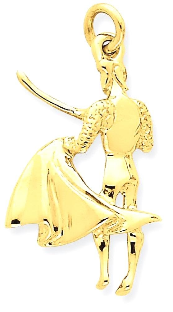 ICE CARATS 14k Yellow Gold Matador Pendant Charm Necklace Travel Transportation Fine Jewelry Gift Set For Women Heart