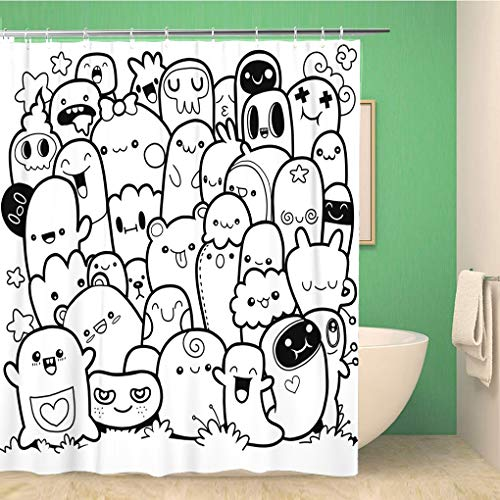 Awowee Bathroom Shower Curtain Halloween Funny Monsters Cute Pattern for Coloring Book Black Polyester Fabric 66x72 inches Waterproof Bath Curtain Set with Hooks]()