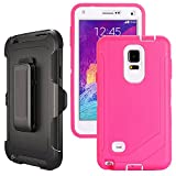note 4 case wood - Galaxy Note 4 Case Heavy Duty,Harsel Defender Series Shockproof Dustproof Dropproof 3 Layer Rugged Protective Shell Case w/ Built-in Screen Protector & Belt-clip for Samsung Galaxy Note 4 (Rose White)