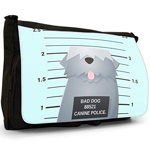 Shoulder Naughty School Police Bag English Sheepdog Laptop Black of Canine Bad Dogs Canvas Messenger Lineup Bag Large Old vpqtxAwnfR