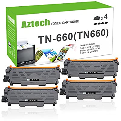 Aztech 4PK High Yield Black Compatible for Brother TN660 TN 630 MFC L2700DW Toner Cartridge for Brother MFCL2700DW HL-L2380DW MFC L2740DW HL-L2340DW DCP L2540DW HLL2300D Toner Monochrome Laser Printer