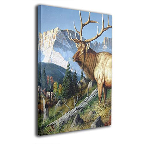 (Baerg Wild Deer with Long Horn Frameless Decorative Painting Wall Art for Home and Office)