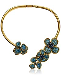 Kenneth Jay Lane Gold, Turquoise Dot and Montana Center Flower Collar Necklace