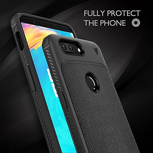 OnePlus 5T Funda, KuGi anti-rasca la Carcasa del teléfono TPU del de la imitación ninguna Case del teléfono móvil caja del teléfono Cover para OnePlus 5T Smartphone, (Rojo) Negro