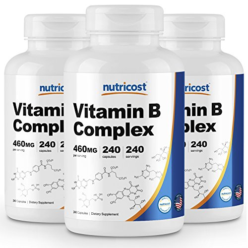 Nutricost High Potency Vitamin B Complex 460mg, 240 Capsules 3 Bottles – with Vitamin C