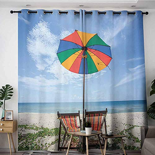 Waterproof Window Curtains,Seaside Decor Collection A Pair of Chairs and Colorful Umbrella on the Beach Seaside Picture,Insulated with Grommet Curtains for Bedroom,W108x108L,Blue Red Yellow Green