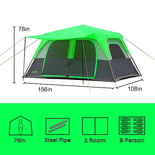 Arctic Monsoon 8 Person 2 Room Instant Tent, Green/Grey