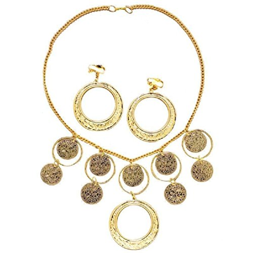 [Gold Gypsy Necklace and Earrings Costume Goldtone Costume Jewelry Set] (Pirate Belly Dance Costume)