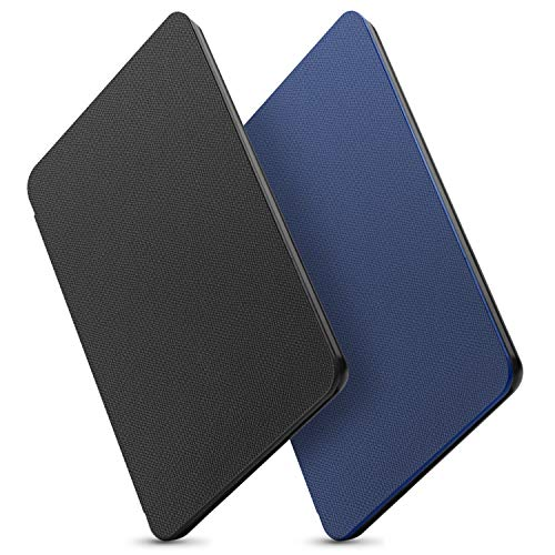 OMOTON All-New Kindle 2019 Case Cover (2 Pack), The Thinnest Lightest PU Leather Smart Shell Cover with Auto Sleep Wake Feature for All New Kindle 10th Generation 2019 Released, Black+Blue
