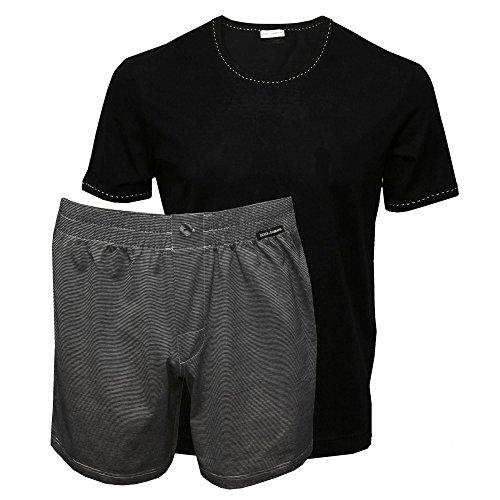 Gabbana Set - Dolce & Gabbana Men's Striped Mercerised Lisle Yarn Branded T-Shirt & Shorts Gift Set, Black/Grey Medium Black/Grey