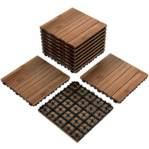 Yaheetech Patio Pavers Wood Flooring Deck Tiles Interlocking Wood Patio Tiles 11 Pack Tiles Patio Garden Deck Poolside Indoor Outdoor 12 x 12in (Install Concrete Paver Patio)