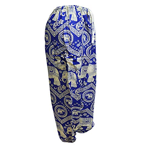 5 Elephant Con bangkok Hippie Cordón Harem Pantalones La Mr Aladdin De Cintura Blue 1FqPvHw