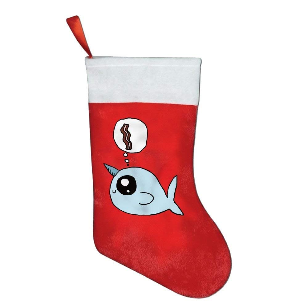 coconice Funny Animal Narwhal Want to Eat Bacon Christmas Holiday Stockings by coconice (Image #1)