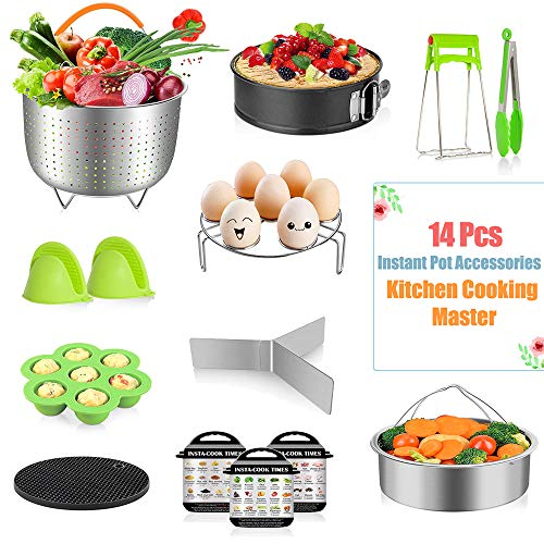 Fnboc Instant Pot Accessories Set Compatible With 6/8 Quart- 14pcs Pressure Cooker Accessories - 2 Steamer Baskets, Efficient Cook, Bake & Steam, Spring-Form Pan, Egg Rack, Tongs, Mitts, Ect