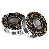 0 gauge plugs lotus - 2pcs Vintage Lotus Stainless Steel Ear Gauges Soft Ear Plugs Expander Tunnels Ear Piercing Jewelry 0g(8mm)
