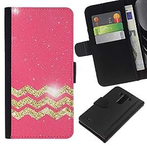 LG G3 / D855 / D850 / D851 Modelo colorido cuero carpeta tirón caso cubierta piel Holster Funda protección - Moroccan Pattern Golden Pink Glitter