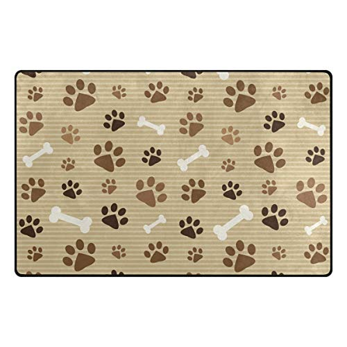 FAJRO Brown Footprints and Bones Polyester Doormat Dirt Trapper Area Rug Multipattern Door Mat Shoes Scraper Home Dec Anti-Slip Indoor/Outdoor