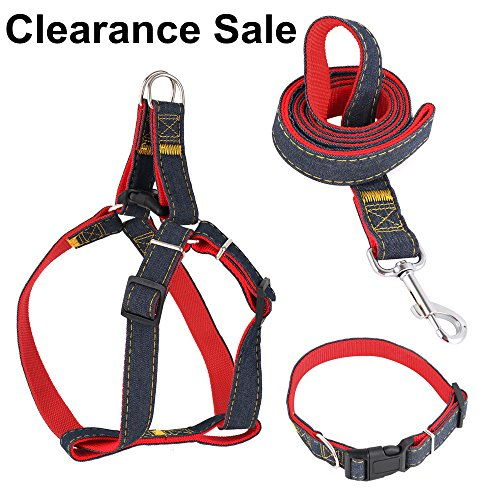CANSHOW Dog Leash Harness Collar Set, Adjustable Durable Denim, Perfect for Large Dogs Daily Training Walking Running