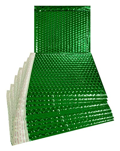 (ABC 25 pack Metallic Bubble mailers 6 x 6.25. Green padded envelopes 6 x 6 1/4. Glamour bubble mailers. CD size. Peel & Self Sealing cushion packaging mailers. Poly mailing packing wrapping)