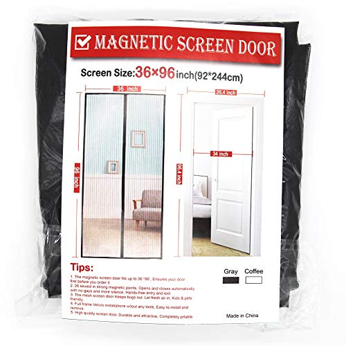 Upgraded Screen Door, 36 x 96 Inch Gray Magnetic Screen Door,Good Light Transmission,Mosquito Patio Screens Magic Door Fiberglass Screen Mesh Fit Doors Size up to 34 W x 95H Inch ()