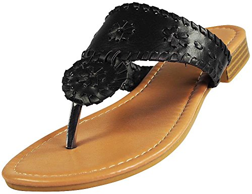 Libby Womens Flat Shoes - Pierre Dumas Women's Rosetta-1 Slip-on Sandals (6, Black)