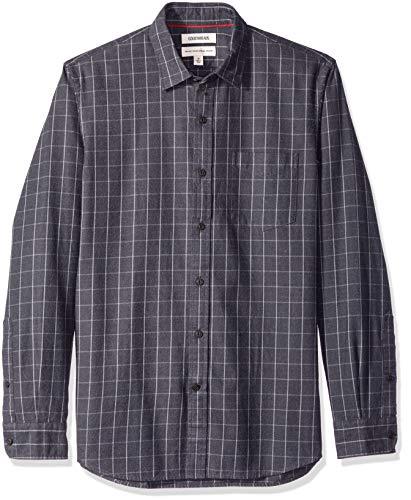 - Goodthreads Men's Standard-Fit Long-Sleeve Brushed Flannel Shirt, Grew Windowpane, Large