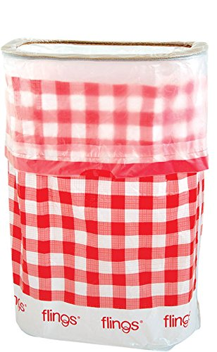 Amscan Flings Bin Gingham Patented 13 Gallon Pop Up Trash Bin for Parties, Picnics and Everyday Use, 22 x 15 x 10, Red -