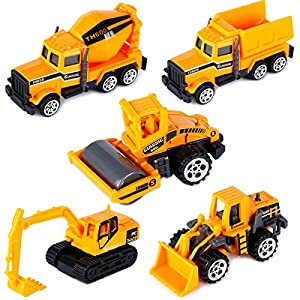 Best Epic Trends 51xBNz5skfL._SS300_ Construction Trucks for 3 Year Old Boys Mini Engineering Models Play Vehicles Cars Toys Birthday Party Supplies Cake…