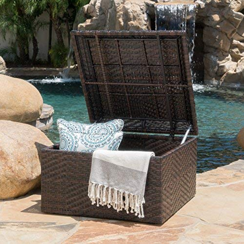 (Kingston Outdoor Wicker Square Storage Ottoman)