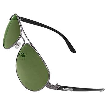 Hombres Doble Puente de las lentes lente gafas de sol verdes ...