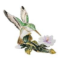 HSRT Hummingbird on Flower Crystal Bejeweled Trinket Jewelry Box Pewter Figurine
