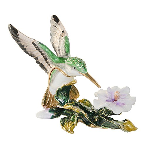 Enamel Trinket Flower Box - Hummingbird on Flower Crystal Bejeweled Trinket Jewelry Box Pewter Figurine
