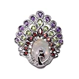 JYX Fine Peacock-style White Baroque Pearl Pendant with Gemstone