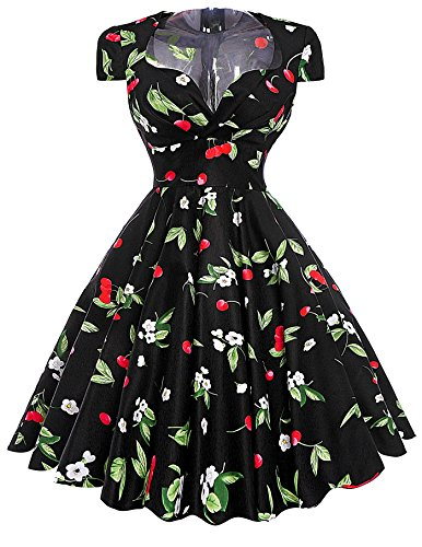 Belle-Poque-V-Neck-Vintage-Floral-Swing-Dresses-Cap-Sleeve