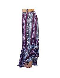 StarTreene Womens Boho Dresses Floral Tie up Waist Summer Beach Wrap Maxi Skirt