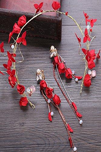 red bridal headdress suit handmade silk yarn flowers beaded hair hoop earrings earings dangler eardrop bridal headdress wedding photo jewelry ()